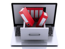 3d Laptop with ring binders. Data storage. Royalty Free Stock Photos