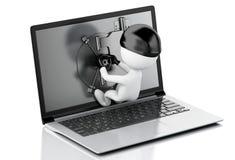 3d Laptop with Safe Door. Data security concept. Stock Photos