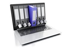 3d laptop and secret folder. Data security concept Stock Photo
