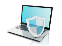 3d laptop with shield. internet security, antivirus concept Royalty Free Stock Photo