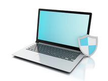 3d laptop with shield. internet security, antivirus concept Royalty Free Stock Image