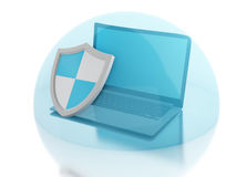 3d laptop with shield. internet security, antivirus concept Royalty Free Stock Photography