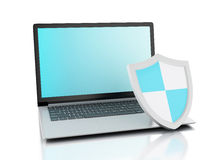 3d laptop with shield. internet security, antivirus concept Royalty Free Stock Images