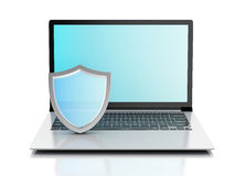 3d laptop with shield. internet security, antivirus concept Stock Photo