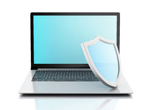 3d laptop with shield. internet security, antivirus concept Stock Photography