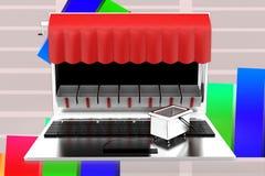 3d Laptop Shop Illustration Royalty Free Stock Images