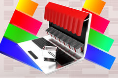 3d Laptop Shop Illustration Royalty Free Stock Photo