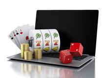 3d Laptop with slot machine, dice, cards and gold coins. Stock Images