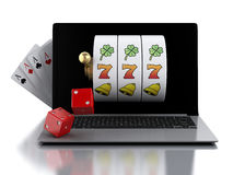 3d Laptop with slot machine, dice and cards. Stock Images