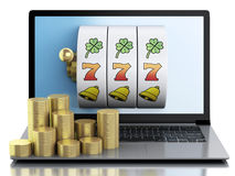 3d Laptop with slot machine and gold coins. Royalty Free Stock Photos