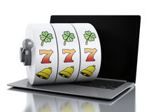3d Laptop with slot machine. Royalty Free Stock Photos
