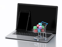 3d Laptop and Smartphone with Apps icons in shopping cart. Stock Photography