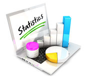 3d laptop statistics. White background, 3d image Stock Image