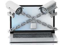 3d Laptop with surveillance camera, lock and chain. Privacy conc. 3d render image. Laptop with surveillance camera, lock and chain. Data security concept.  white Royalty Free Stock Image