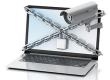 3d Laptop with surveillance camera, lock and chain. Privacy conc. 3d render image. Laptop with surveillance camera, lock and chain. Data security concept.  white Stock Photo