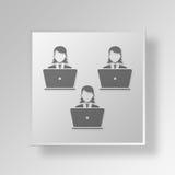 3D laptop users Button Icon Concept. 3D Symbol Gray Square laptop users Button Icon Concept Stock Photos