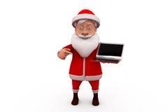 3d laptop van de Kerstman concept Royalty-vrije Stock Foto's