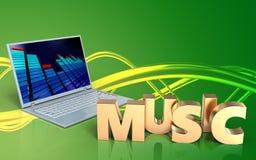 3d laptop van het muziekteken computer Stock Foto