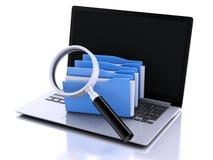 3d laptop, vergrootglas en computerdossiers Royalty-vrije Stock Fotografie