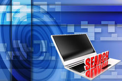3d laptop web search Stock Photography