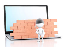 3d Laptop with white people thief. security concept. 3d renderer image. White people thief. Laptop with brick wall. Firewall concept.  white background Stock Photos