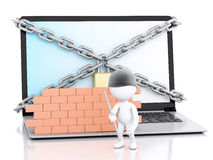 3d Laptop with white people thief. security concept. 3d renderer image. White people thief. Laptop with chain and brick wall. Firewall concept.  white Royalty Free Stock Photo