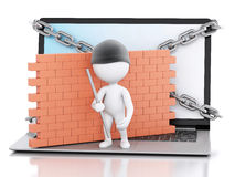 3d Laptop with white people thief. security concept. 3d renderer image. White people thief. Laptop with chain and brick wall. Firewall concept.  white Stock Photo