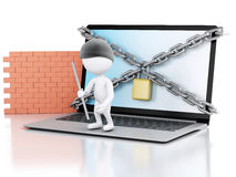 3d Laptop with white people thief. security concept. 3d renderer image. White people thief. Laptop with chain and brick wall. Firewall concept.  white Royalty Free Stock Photos