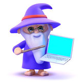 3d Laptop wizard Royalty Free Stock Photography