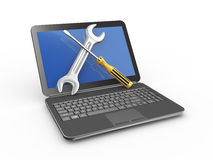 3d laptop with wrench and screwdriver repairing tools. 3d illustration of laptop with wrench and screwdriver. Concept of laptop, computer service and repairing Stock Photography