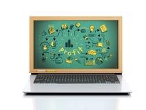 3d laptop z biznesowym nakreśleniem royalty ilustracja