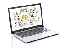 3d laptop z biznesowym nakreśleniem ilustracji