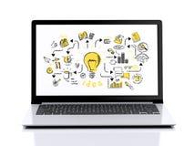 3d laptop z biznesowym nakreśleniem Ilustracja Wektor