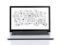 3d laptop z edukaci skecth na ekranie Zdjęcia Stock