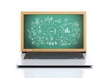 3d laptop z kreatywnie nakreśleniem na chalkboard Ilustracja Wektor