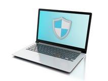 3d laptop z osłoną internet ochrona, antivirus pojęcie Obraz Royalty Free