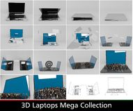 3d laptops collection Stock Photography