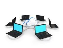3d laptops depicting cloud computing concept Stock Image