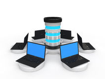 3d laptops and server Royalty Free Stock Photos