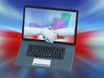 3d laptopu uścisku dłoni partnerstwo Obrazy Royalty Free