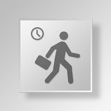 3D Late Employee Button Icon Concept Royalty Free Stock Photos