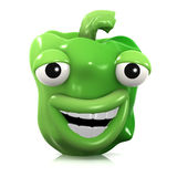 3d Laughing green pepper Stock Images