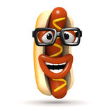 3d Laughing hotdog with glasses Stock Photos