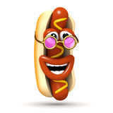 3d Laughing hotdog wears pink sunglasses Stock Photo