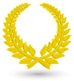3D Laurel wreath. Of gold on a white background stock illustration