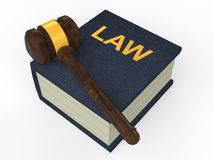 3d law book and gavel Royalty Free Stock Photos