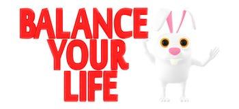 3d le caractère, lapin, équilibrent votre texte de la vie illustration de vecteur