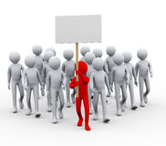 3d leader people protest strike Stock Photography
