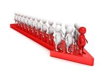3d leader person of team on arrow forward. Teamwork success concept 3d render illustration Royalty Free Stock Photos