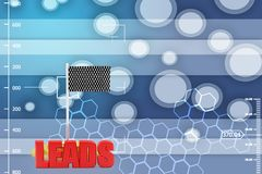 3d leads with checker flag illustration Stock Photo